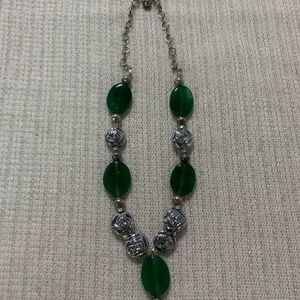 Necklace silver tone with green glass beads